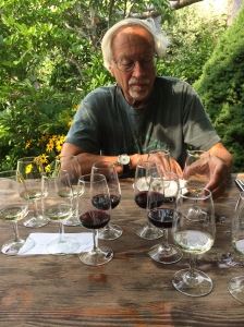 It's not that the man is drinking so heavily, but simply that at a winery they bring you many tastes in many glasses...but this photo without a caption?